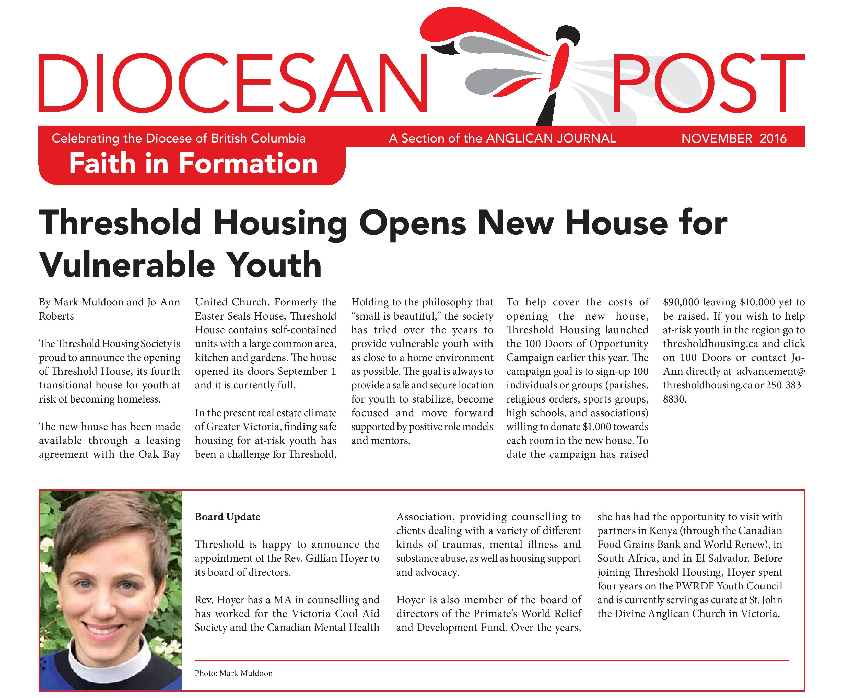 Diocese of BC Celebrates Youth Affordable Housing