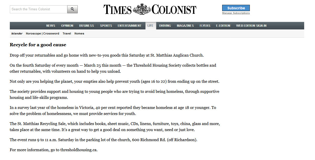 Times Colonist Article - Threshold Housing Recycling - Victoria BC